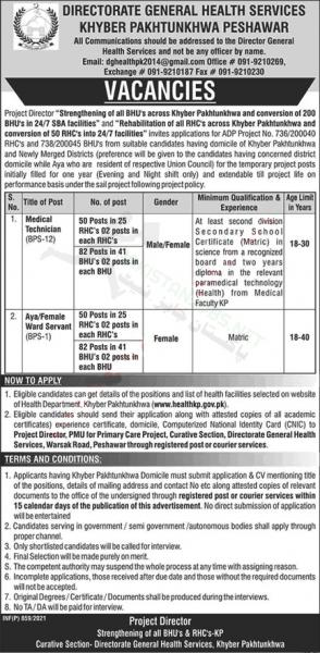 Directorate General Health Services Jobs 2021 Advertisement