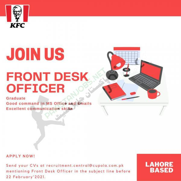 JOIN KFC AS FRONT DESK OFFICER 2021 Latest Advertisment