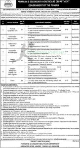 NTS Jobs At The Department Of Primary And Secondary Healthcare Of Punjab 2021