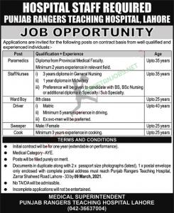 Punjab Rangers Teaching Hospital Jobs 2021