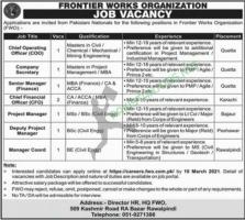Frontier Works Organization FWO Jobs 2021 Latest