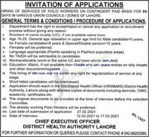 Hiring Of Services Of polio Workers Jobs 2021