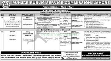 Latest Revenue Department PPSC Jobs 2021