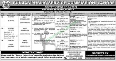 PPSC Board Of Revenue Punjab, Land Records Jobs 2021