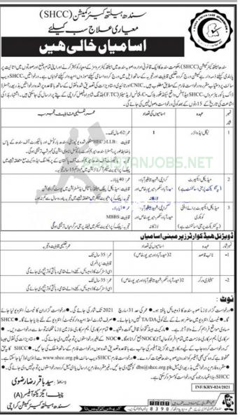 SHCC | Sindh Health Commission Jobs March 2021