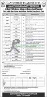 Cantonment Board Quetta Schools & College Jobs 2021