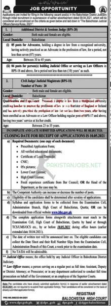 BHC Jobs At Balochistan High Court 2021