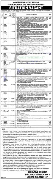 Communication and Works Department Punjab Jobs 2021