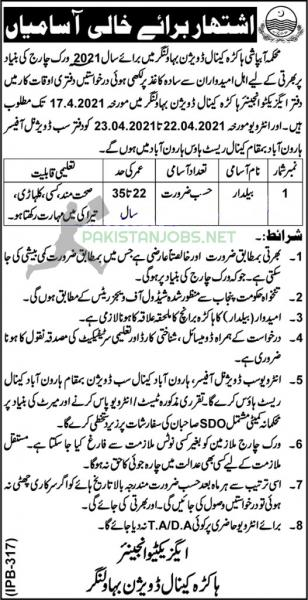 Irrigation Department Canal Division Job Offer 2021 Latest Ad