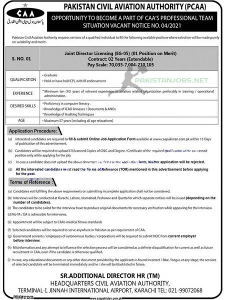 Pakistan Civil Aviation Authority CAA 2021 Job Announcement
