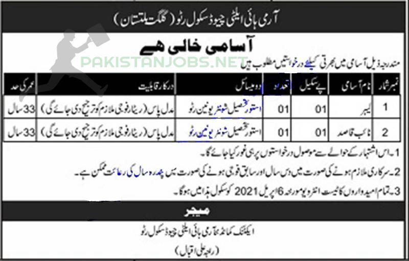 Pakistani Army Jobs At High Altitude School 2021