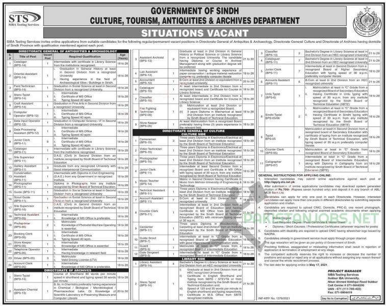 Sindh Culture Tourism Antiquities and Archives Department Jobs 2021