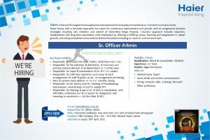 Haier Pakistan Administration Jobs 2021 Latest Ad