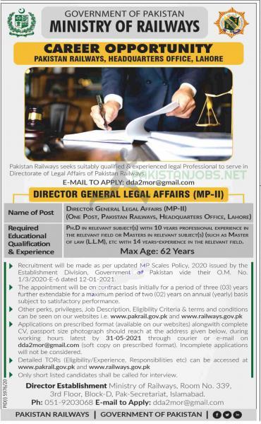 Jobs in Pakistan Lahore Railway Headquarters 2021