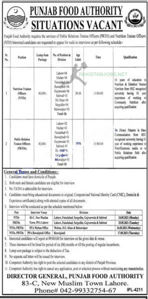 Punjab Food Authority Jobs May 2021