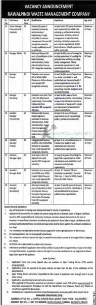 Rawalpindi Waste Management Company 2021 Jobs Announcement