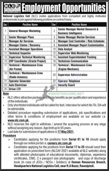 Latest Jobs in National Logistic Cell NLC May 2021