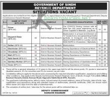 Revenue Department Karachi Latest Jobs 2021