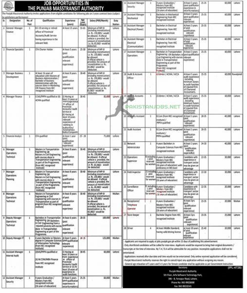 Punjab Masstransit Authority Lahore Jobs 2021