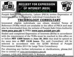 Punjab Safe Cities Authority, Lahore (PSCA) Jobs 2021