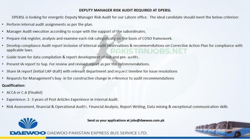 DAEWOO PAKISTAN EXPRESS BUS SERVICE LTD DPEBSL JOBS 2021