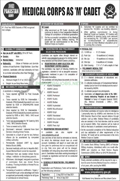 Join Pak Army Medical Corps As M Cadet Jobs 2021 - Online Registration