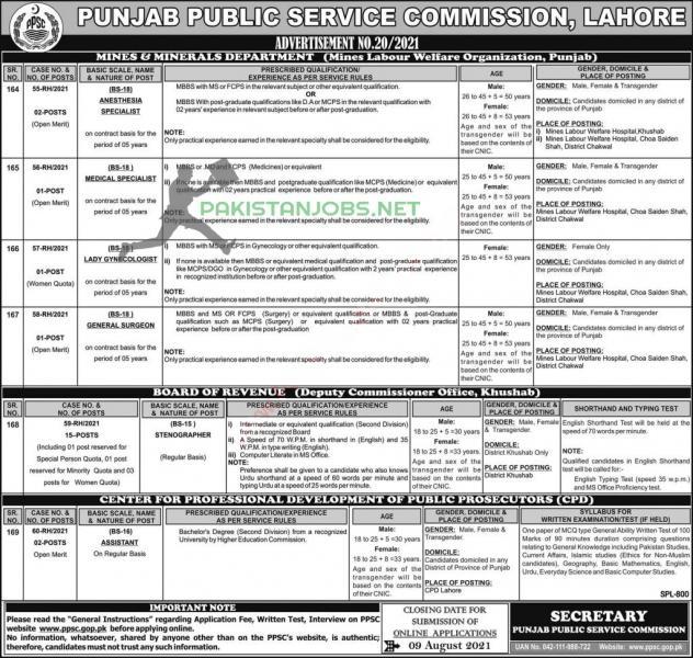 PPSC Jobs 2021 Advertisement No 20/2021 Apply Online via ppsc.gop.pk