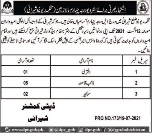 Sherani District Revenue Deparment Jobs 2021