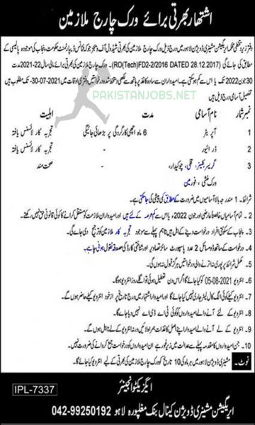 The Irrigation Department Jobs In Lahore 2021