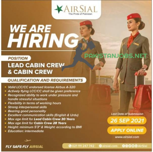 AirSial Limited Jobs 2021 - Lead Cabin Crew & Cabin Crew