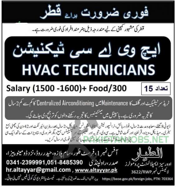 HVAC Technicians Jobs In QATAR