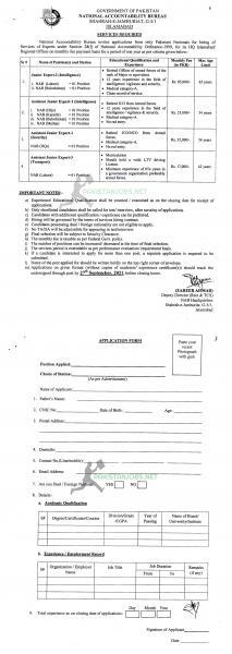 National Accountability Bureau NAB Islamabad Jobs 2021 Application Form Download