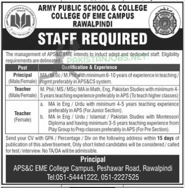 Army Public School APS Rawalpindi Jobs 2021