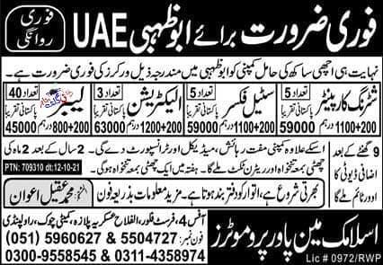 Latest Skilled Labor Jobs In Abu Dhabi 2021