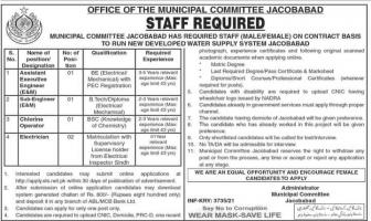 Jacobabad Municipal Committee Jobs 2021
